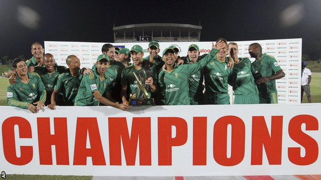 South Africa with the Twenty20 series trophy