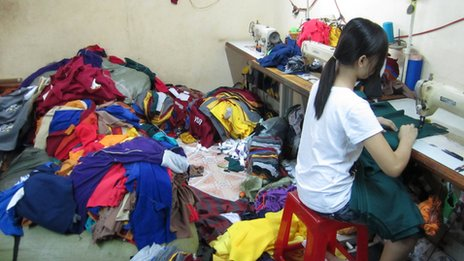 A child working in one of the garment factories raided by the Blue Dragon Children's Foundation in Vietnam