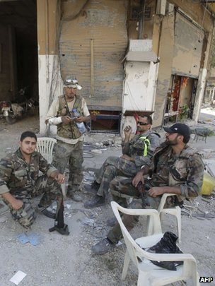 Syrian government soldiers in Homs