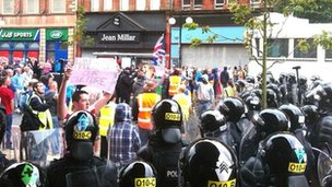 Loyalist protesters confront police in Belfast city centre