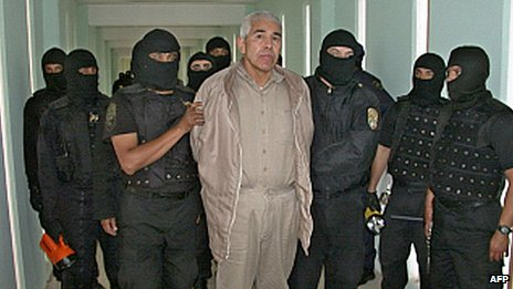 "File picture of former top Mexican drugs cartel boss Rafael Caro Quintero under armed guard at the Puente Grand"" prison in Guadalajara in 2005"