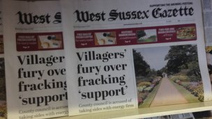 West Sussex Gazette front page