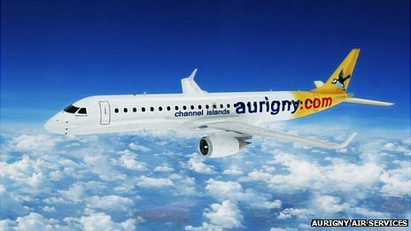 Mock up of how Embraer jet would look in Aurigny colours