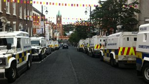 There has been a heavy security presence in Shipquay Street in Londonderry