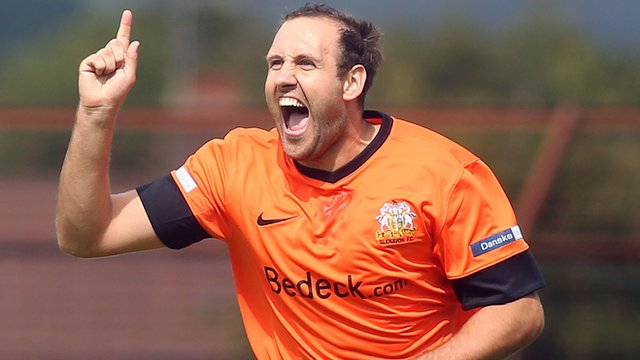 Glenavon's Guy Bates celebrates scoring against Ballymena