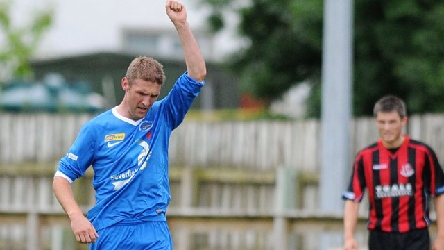 Andy Crawford celebrates scoring the winner against Crusaders