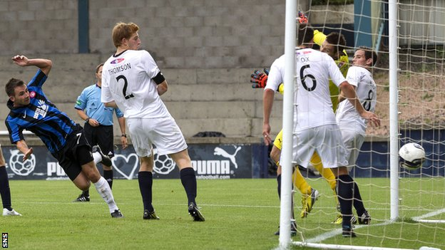 James Keatings scores for Hamilton against Raith Rovers