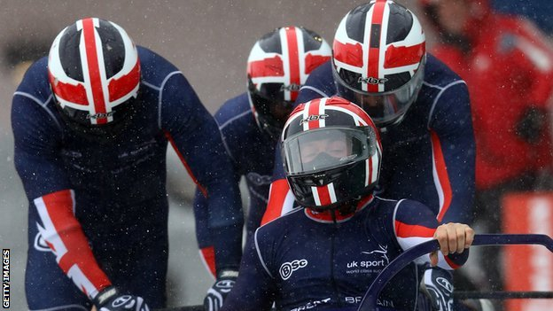 John Jackson with the rest of the bobsleigh team