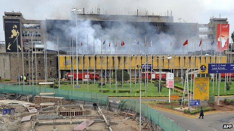 Smoke rises from the Jomo Kenyatta International Airport in Nairobi on 7 August 2013