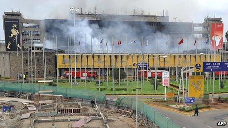 Smoke rises from the Jomo Kenyatta International Airport in Nairobi on 7 August 2013