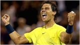 Rafael Nadal celebrates his victory over Novak Djokovic