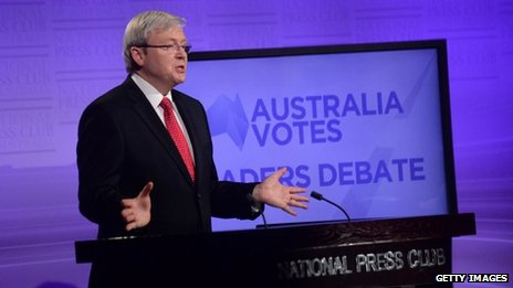 Australian PM Kevin Rudd in Canberra (11 Aug 2013)
