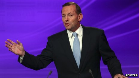 Liberal-National coalition leader Tony Abbott in Canberra (11 Aug 2013)