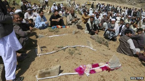 Afghan villagers take part in the burial of victims after floods in the Shakardara district of Kabul
