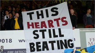 Hearts fans display banner showing their support