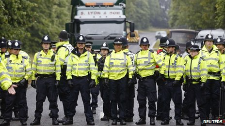 A police line at a protest in Balcombe