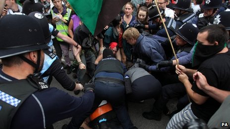 Police and protestors clash in Balcombe, West Sussex.