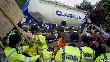 Protesters trying to get to a Cuadrilla truck in Balcombe