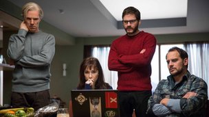 Benedict Cumberbatch with Carice van Houten, Daniel Bruhl and Moritz Bleibtreu in The Fifth Estate