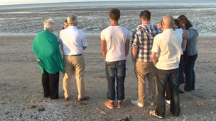 Friends and family of Gary Pocock on the beach at Leysdown