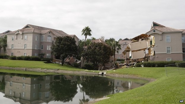 Hotel building over sinkhole in Clermont, Florida, on 12 August 2013