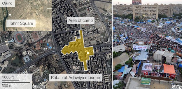 Graphic showing the size of the protest camp around Rabaa  al-Adawiya mosque
