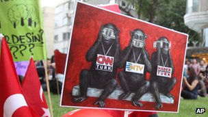 Placard mocking Turkish media, 2 Jun 13