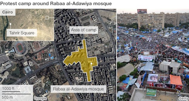 Graphic showing the approximate size of the protest camp at Rabaa al-Adawiya
