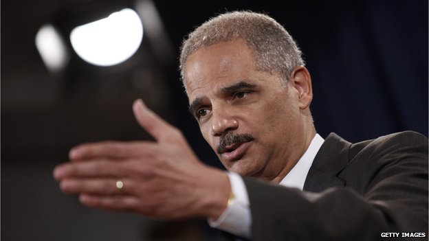 Attorney General Eric Holder gives a speech
