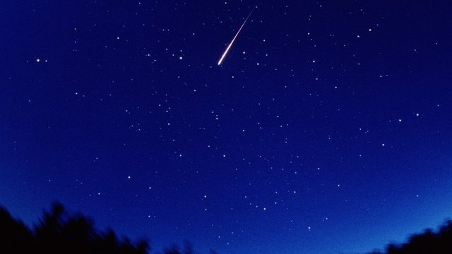 Perseid meteor shooting across night sky