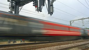 A train travelling quickly