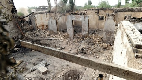 This 25 April 2013 photo shows site of a violent clash in Kashgar, in China's northwestern region of Xinjiang