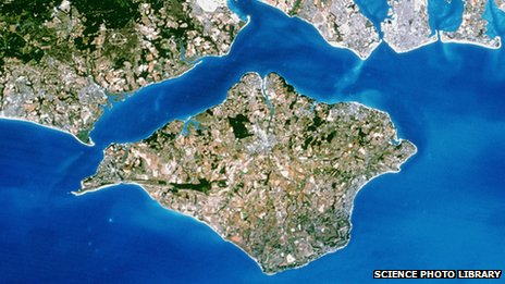 An aerial view of the Isle of Wight off Hampshire