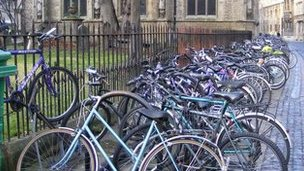 Bicycles on racks in Broad Street, Oxford
