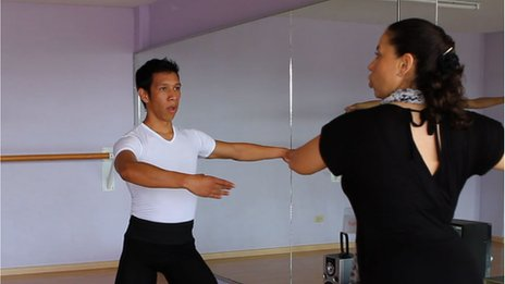 Faustino Rios practising in a ballet studio in Cholula in August 2013
