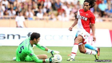 Monaco's summer signing Falcao in action against Tottenham Hotspur
