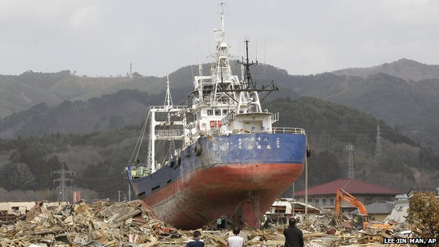 The stranded boat in the aftermath of the tsunami