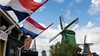 Windmills of Zaanse Schans in mourning position in the Netherlands on 13 August 2013