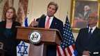 "US Secretary of State John Kerry speaks to the press with chief Palestinian negotiator Saeb Erakat (R) and Israel""s Justice Minister Tzipi Livni (L) at the State Department in Washington on July 30, 2013."