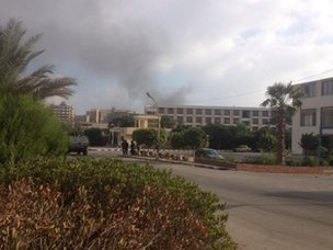 Smoke near Rabaa al-Adawiya protest site (14 August 2013)