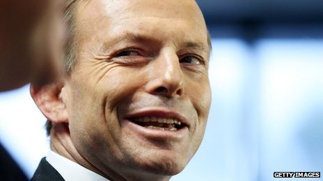 Opposition Leader Tony Abbott in file image on 7 August  2013
