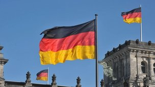 German flags flying outside the Reichstag