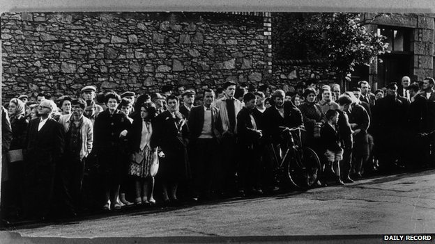 A crowd of 300 gathered outside Craiginches Prison, Aberdeen, on the day of the execution