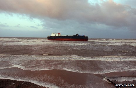 Sea ferry called 'Riverdance' is pictured beached near Blackpool after running into trouble on the Irish Sea