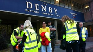 Denby staff on the picket line