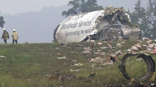 A UPS cargo after it crashed near Birmingham-Shuttlesworth International Airport in Birmingham, Alabama, on 14 August 2013