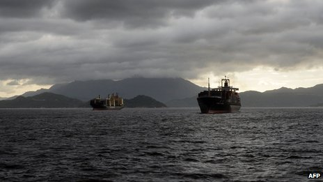 Cargo ships off the coast of Hong Kong