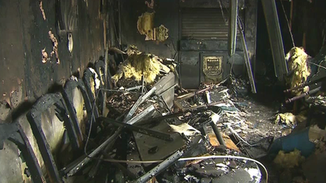 Inside the damaged clubhouse