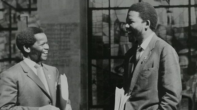 Oliver Tambo and Nelson Mandela outside Africa Hall, Addis Ababa, Ethiopia, 1962