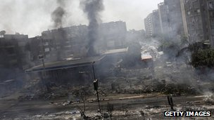Damaged petrol station near Rabaa al-Adawiya mosque in Cairo on Wednesday